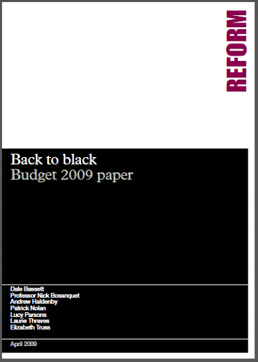 Front cover of Reform's Back to Black paper