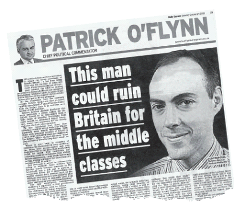 Newspaper clipping of article titled; This man could ruin Britain for the middle class