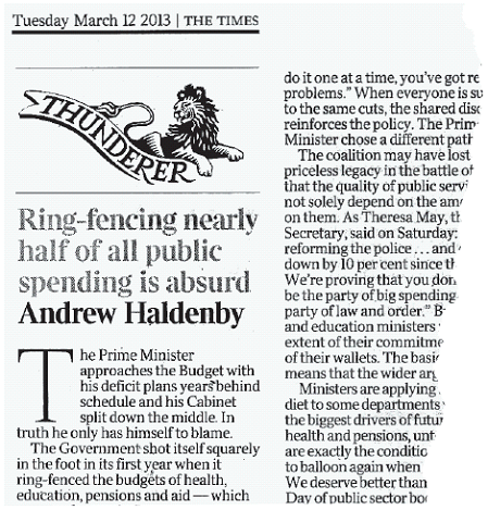 Newspaper clipping of Andrew Haldenby's piece in The Times